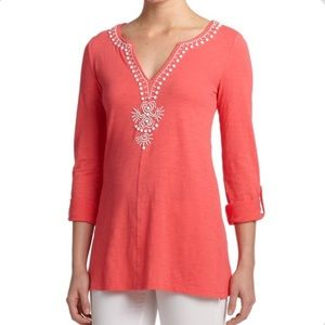 Lilly Pulitzer Eliana coral beaded tunic large